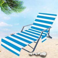 Stuhlabdeckung Streifen Bedruckte Strandtücher Bunte Chaisel Lounge Handtuchabdeckungen für Sun Lounger Pool Sonnenbaden Garten Wasseraufnahme DWA5801