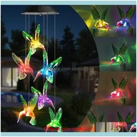 Christmas Decorations Festive Party Supplies Home & Gardencolor Changing Solar Power Wind Chime Crystal Ball Hummingbird Butterfly Waterproo