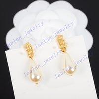 Designer Stud Orecchini Classico Lettera Doppia Logo Goccia d'acqua perla 925 Ago d'argento con scatola L0-C40
