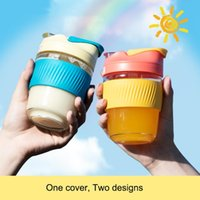 Mugs 350 500ML Coffee Mug Pipette Leak Proof Cup Lovely Glass With Cover Silicagel Resistant Portable Water