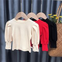 T-shirts Girls Puff Sleeve Bottoming Shirt Casual Baby Top T-shirt 2021 Spring And Autumn Children's Tees
