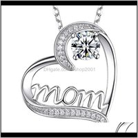 Necklaces Diamond Mom Necklace Love Heart Pendant Jewelry Mother Day Gift Will And Sandy Fashion 9Plwz G2Gji