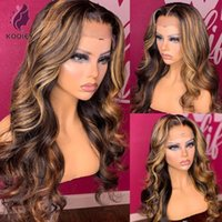 Lace Wigs Highlight Brown Blonde Front Wig Body Wave Virgin Brazilian 100% Human Hair Pre Plucked HD Transparent For Black Women