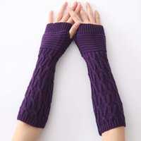 Fingerless Gloves Soft And Comfortable Women's Arm Warmer 6 Different Colors Fashion Acrylic Knitting Winter For Lady 3pairs lot