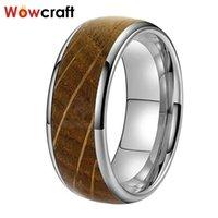 Обручальные кольца 8 мм Wowcraft Jewelry Togsten для мужчин Женщины Whiskey Barrel Wood Inlay Doubled Form Free Free Name Record Service