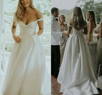 Simple Satin A-Line Wedding Dresses Off Shoulder Bridal Gowns Plus Size Covered Button Sweep Train vestidos de novia