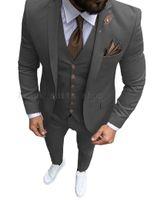 Mens Gray Black Vintage Suit Jacket 3Piece Tweed Wool Wedding Groom Tuxedos Prom Costume Homme(Jacket+Pants+Vest) Men's Suits & Blazers