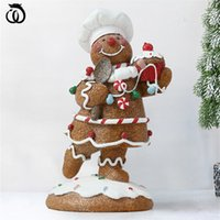 Wu Chen Long Gingerbread Babbo Natale Art Scultura Boy Girl Figure albero di Natale Figurine Figurines Artigianato in resina Decorazioni per la casa R6039 210318