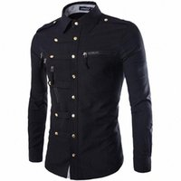CHAMSGEND Langarm Mann Shirts Baumwollmischung Tunika Männer Massivfarbe Buttom Reißverschluss Langarm Slim Fit Shirt Tops Bluse K0ik #