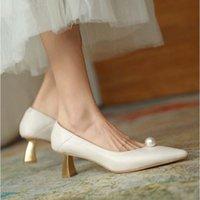 Dress Shoes Akexiya High Heels Women Pearl Fashion Pointed Toe Thin Soft Autumn Female Wedding Pumps