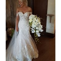 Berta Mermaid Wedding Dresses Off The Shoulder Lace Sexy Bridal Gowns Sweep Train Plus Size