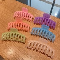 Women Vintage Large Size Hair Claw Makeup Bath Ponytail Clip Candy Solid Color Hair Clamps Simple Geometric Barrettes
