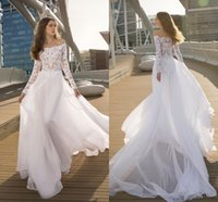 2022 Country Designer Boho Wedding Dress Bridal Gown Long Illusion Sleeves See Through Top Off the shoulder Chiffon Reception Dresses