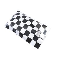 50pcs Racing Car Theme Gift Pouch Black And White Checkered Printing Packing Tote Bags Wrapping Supplies For Birthday Party Wrap