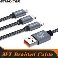 USA Warehouse Fast Delivery Etmaxter Telefonladdning Kablar Slitage 1m 3.3FT Höghastighets laddning Micro USB-typ C Data Linje 3FT flätad för Android IPD
