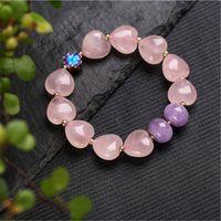 Hohe Menge Freundschaft Armbänder Frauen Schmuck Naturstein Armband Kristall Liebesform Perlengeschenke Ganzes