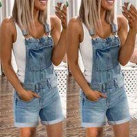I jeans complessivi dei jeans complessivi di Wepbel All-Match donne Plus Size Blue Mid-Womens Womens Denim Shorts Pants