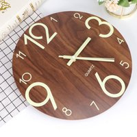 Wall Clocks 12 Inch Clock Round Wooden Luminous European Style House Decoration For Home Cafe Bar