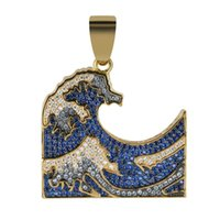 The Great Wave off Kanagawa Iced Out Pendant Necklace Mens Women Colorful Zirconia Hip Hop Gold Color Charm Chains Jewelry Gift 210323