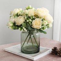 Schöne Rose Pfingstrose Künstliche Seidenblumen Kleine weiße Blumenstraußvasen für Home Party Winter Hochzeit Dekoration Gefälschte Pflanze Dekorative Wrea