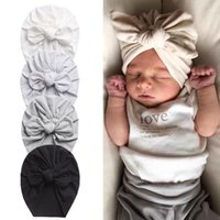 27 color Fashion Baby Hat Newborn Elastic Cotton Baby Beanie Cap Multicolor Infant Turban Hats bow Knot Indian Turban