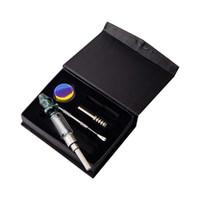 Vaping_Dream NC024 Hookah Glass Water Bong Smoking Pipes Gift Box 2 Tips 510 Titanium Quartz Ceramic Nail Wax Dish Dabber Tool Set