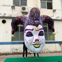Halloween Decorative Hanging Inflatable Clown Head 2m/3m Personalized Air Blown Two-faced Medusa Mask Replica Balloon For Club And Bar Decoration