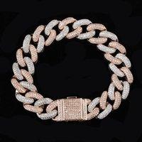 Designer Bracelet Hip Hop Jewelry Iced Out Cuban Link Chain Mens Bracelets Bling Diamond Tennis Love Bangle Snap Button Jewlery Gold Silver