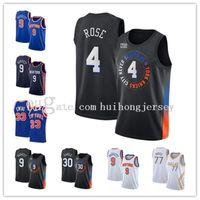 남자 Derrick Rose Newyorkknicks 33 Patrick Ewing 30 Julius Randle 9 RJ Barrett 77 Doncic 2021 Black City Basketball Edition Jersey-3