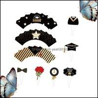 Home Garden24pcs in 1 Set Black and Golden Graduation Party Party Cupcake Wrapper Toppers FAI DA TE Inserisci Torta Linner Picks Altro festivo