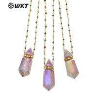 WT-N1234 Collier de Pierre de Prestige Shinny Purple Une bouteille de parfum d'aura Methyst Aura avec colliers de pendentif en chaîne de chapitre de 18 pouces
