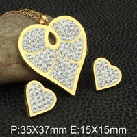 Earrings & Necklace Gold Colors Heart Style Stainless Steel Jewelry Stud Sets Supernova Sales For Women SEDZCMBC