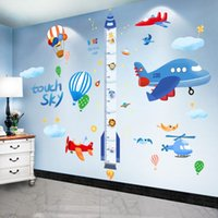 Wall Stickers [shijuekongjian] Cartoon Rocket DIY Airplane Clouds Mural Decals For Kids Rooms Baby Bedroom House Decoration