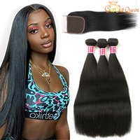 Bonds de cheveux droite avec fermeture en dentelle Brésilienne Vierge Hair Weave avec fermeture 100% Remy Cheveux humains