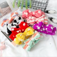 Cosmetic Headband Women Fleece Face Wash Hairband Bow Makeup Hair Band Coral Velvet Sports Shower Headband Striped Hair Accessories BWC6971