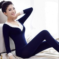 Pajamas Thermal Underwear Suit Womens Sleepwears Knitted Cotton Winter Thermo Warm Sets Home Clothing