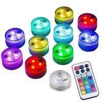 Lumières LED submersibles RGB étanche Sous-eau Couleur Changement de couleur Changement de bougie Tealight avec télécommande pour Vase Mariage Party Bar Piscine Décor Lighting