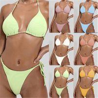 Mujeres de colores sólidos de tres puntos Trabajo de baño de tres puntos Reducir los sostenes del pecho los broches Split Bikini Traje de baño Verano Femenino Playa Triángulo Bikini