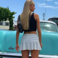 Skirts Woman 90s High Waist Mini Skirt Lady Trendy Y2K Summer Beachwear White Accessory Brandy Jupe Preppy Style Ruched Pleated