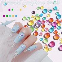 Nail Art Decorations 300PC Candy Colors Mixed Size Mermaid Round Glass Crystal Beads AB Rhinestones DIY Flatback Acrylic Stones