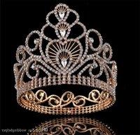 Vintage Wedding Crown Tiara Tall Full Round Crown Crystal Rhinestone Headpiece Hair Accessories Queen Crown Princess Head Ornamen