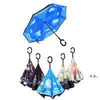 NewReverse Dobrável guarda-chuva 30 padrões ensolarado chuvoso de guarda-chuvas invertidos com cabo C-gancho EWA6324