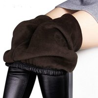 Women's Leggings Winter Women Autumn Warm Fake Leather Velvet Pants Stretch Skinny Sexy Thickening Black