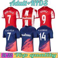 21 22 Jerseys de football Atletico Joao Felix Suarez Koke Madrid 2021 2022 Camisetas de Fútbol Training Polo Hommes Kits Enfants Kits Fooball Shirt Thaïlande Top