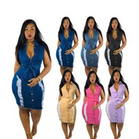 Kadın Artı Boyutu Denim Elbiseler 3X 4XL 5XL Yaz Kot Tek Parça Elbise Kolsuz Sıska Diz Boyu Etek Rahat Mavi MIDI Etek Büyük Boyları Giysileri DHL Gemi 5428