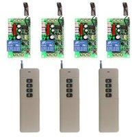 Smart Home Control 3000m AC 220V 110V 1 CH 1CH RF Trådlös fjärrkontrollsystem, 4CH-sändare + mottagare, M, T, 315/433 MHz