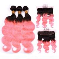 هندي الشعر البشري روز الذهب أومبير موجة الجسم ينسج 3 حزم مع 13x4 الرباط أمامي # 1B الوردي أومبير لحمة الشعر مع إغلاق الدانتيل أمامي