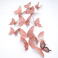 Wall Stickers 12pcs Decoration Hallow Butterfly For Living Room Bedroom Bathroom Kid`s Christmas Decor