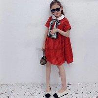 Luxury Girls Silk scarves Bow Letter Printed Dresses Children Lapel Short Sleeve Dress Kids Designer Clothing A6741