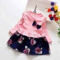 Платье сетки с длинными рукавами лук поднял один кусок девочка детская одежда принцесса выпускные платья весна осень 18zl k2